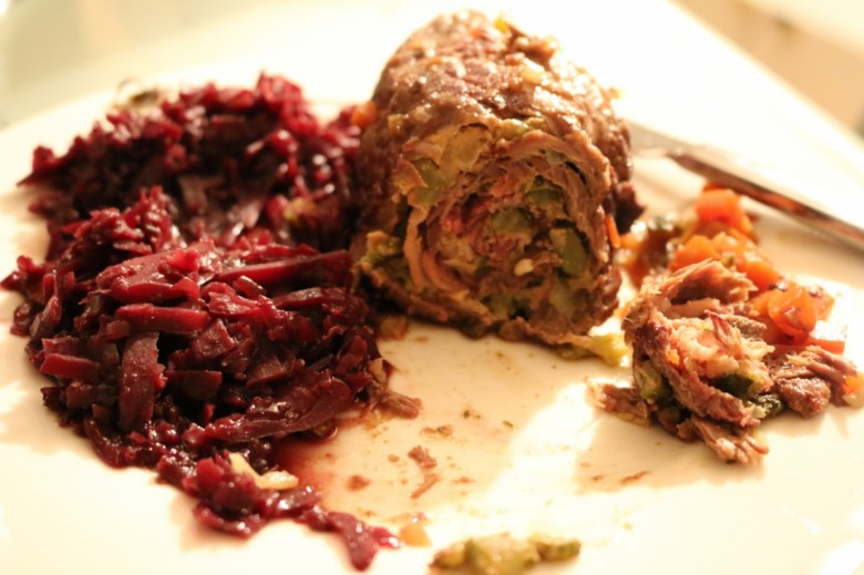 German beef rouladen with red cabbage